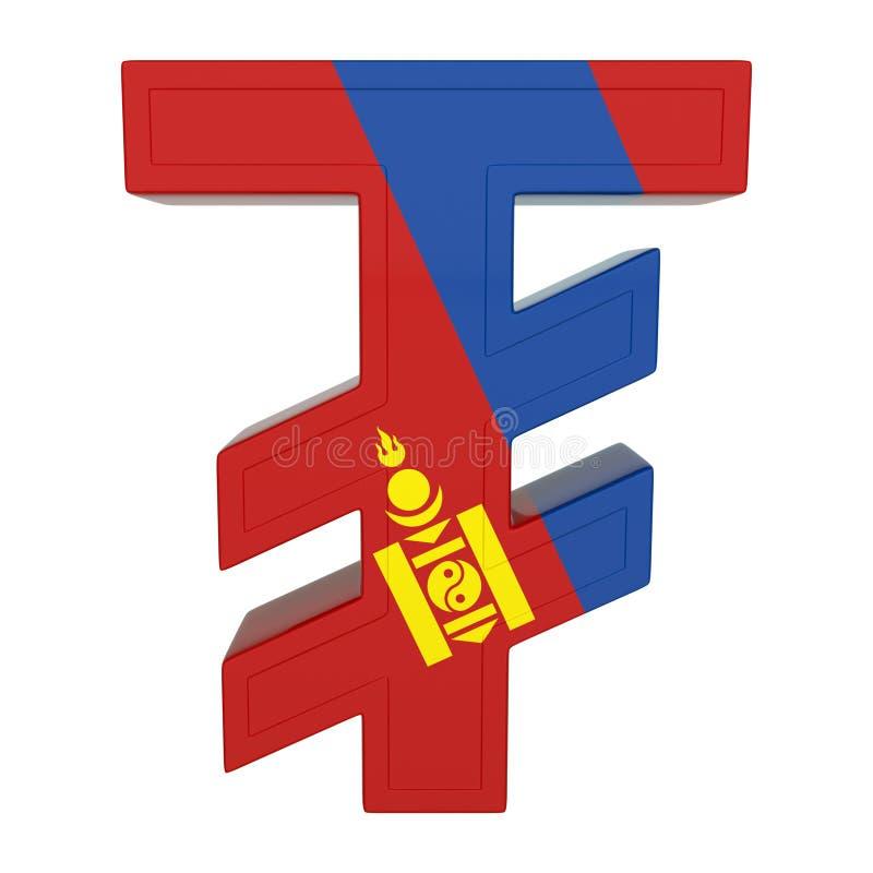 Символ валюты с национальным флагом Монгольская валюта 3D представляют изолировано на белизне иллюстрация вектора