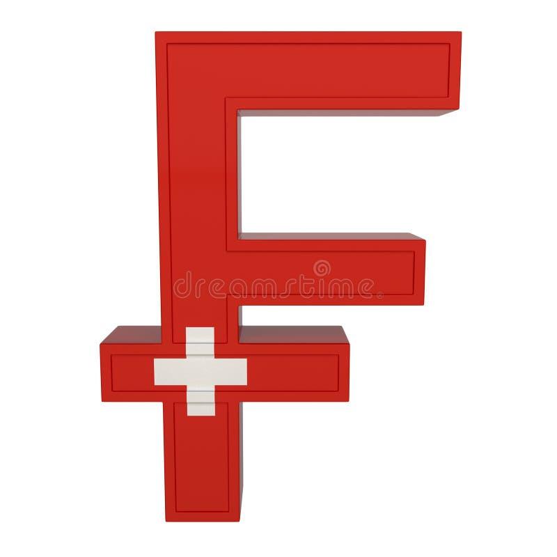 Символ валюты с национальным флагом Швейцарская валюта 3D представляют изолировано на белизне иллюстрация вектора