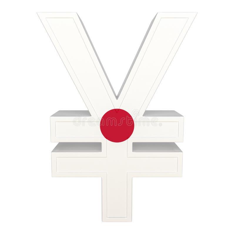 Символ валюты с национальным флагом Японская валюта 3D представляют изолировано на белизне иллюстрация штока