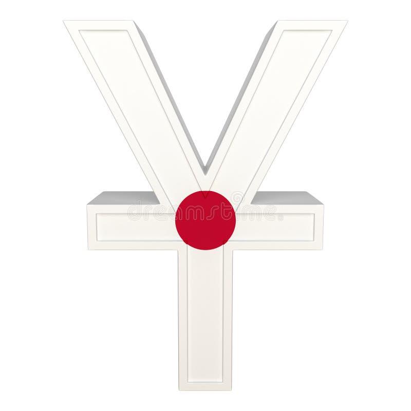 Символ валюты с национальным флагом Японская валюта 3D представляют изолировано на белизне иллюстрация вектора