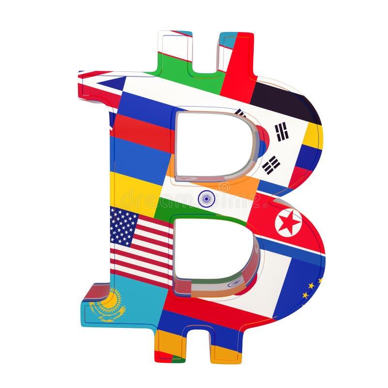 Символ валюты с национальным флагом Bitcoin 3D представляют изолировано на белизне бесплатная иллюстрация