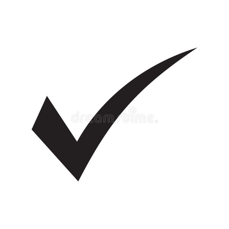 Символ вектора значка тикания, контрольная пометка изолированная на белой предпосылке, проверил значок или правильный отборный зн иллюстрация вектора