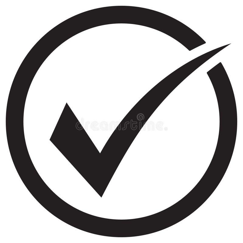 Символ вектора значка тикания, контрольная пометка изолированная на белой предпосылке, проверил значок или правильный отборный зн бесплатная иллюстрация