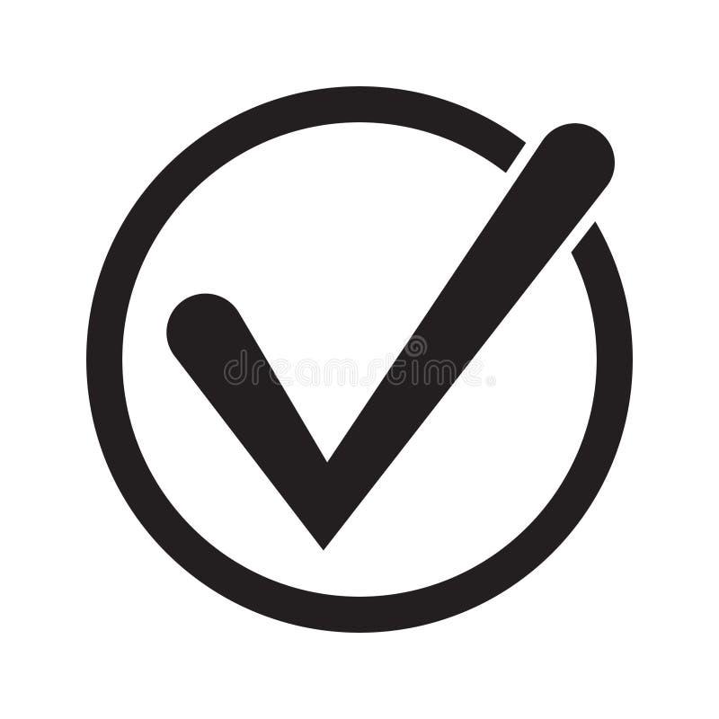 Символ вектора значка тикания, контрольная пометка изолированная на белой предпосылке Значок кнопки контрольного списка Значок ко иллюстрация штока
