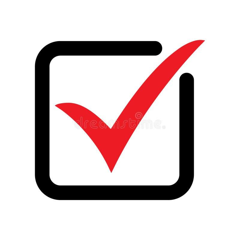 Символ вектора значка тикания, контрольная пометка изолированная на белой предпосылке, проверенный значок или правильный отборный иллюстрация вектора