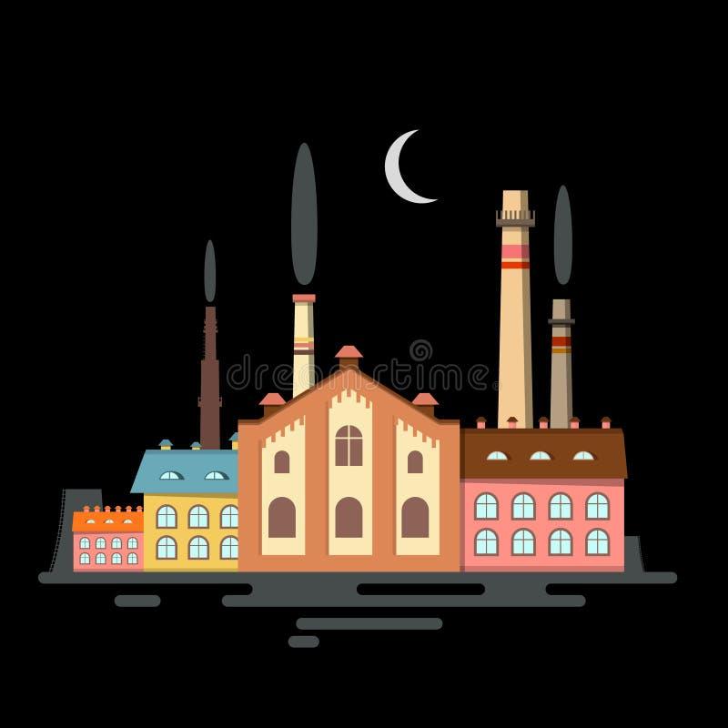 Символ вектора фабрики ночи иллюстрация вектора
