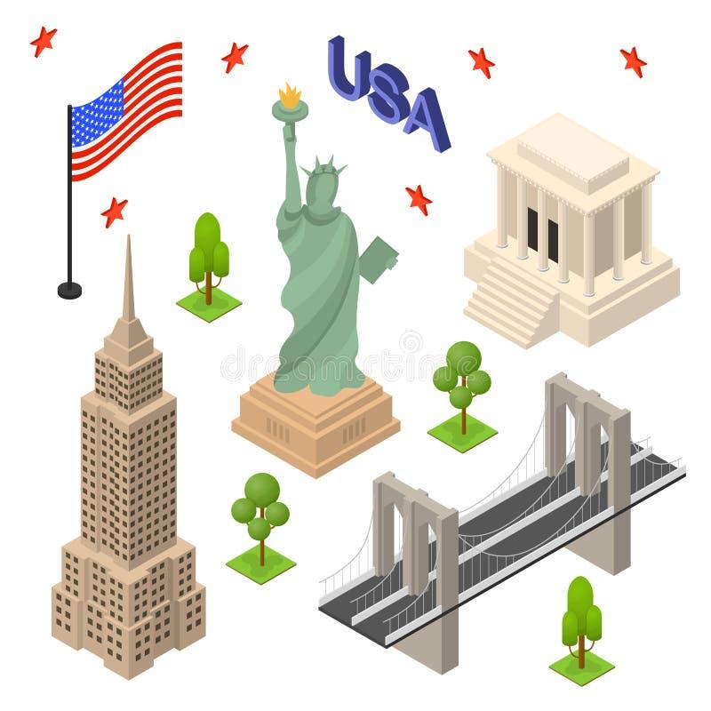 Символ взгляда перемещения концепции США установленного значками равновеликого вектор иллюстрация штока