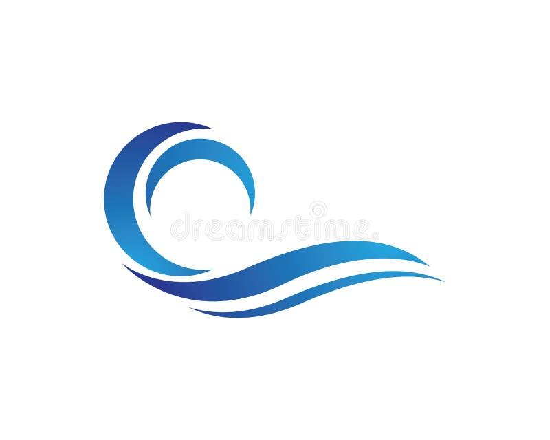 Символ волны воды и логотип значка иллюстрация штока