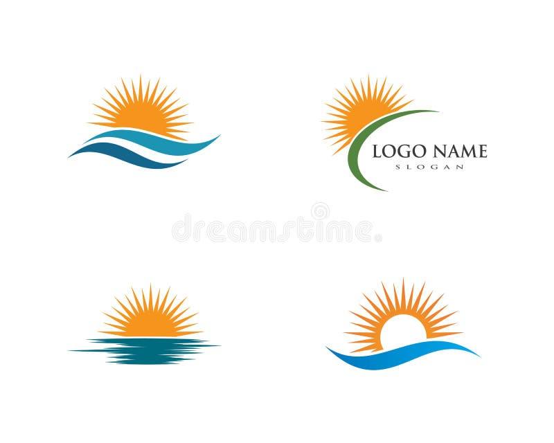 Символ волны воды и шаблон логотипа значка иллюстрация вектора
