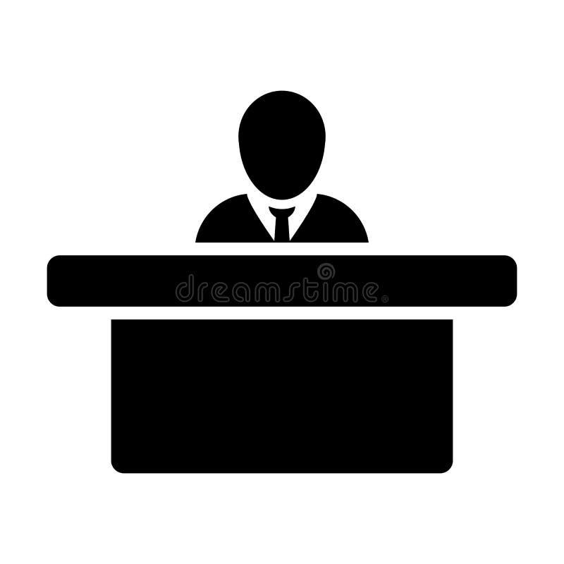 Символ воплощения мужск человека вектора значка рабочего места с таблицей для конторской работы в плоской пиктограмме глифа цвета иллюстрация вектора