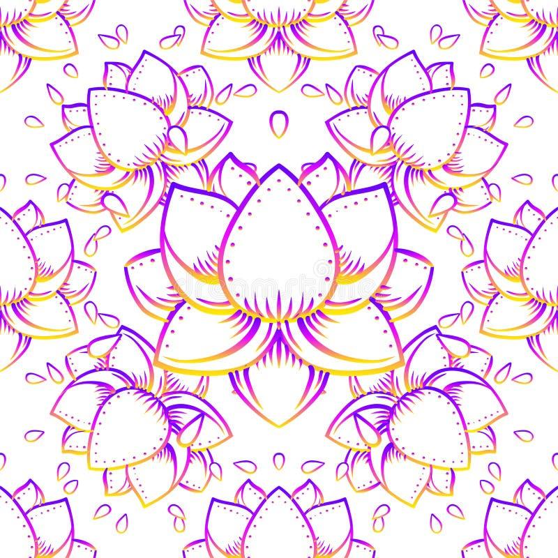 Символ геометрии цветка лотоса священный с полностью видя глазом сверх внутри иллюстрация вектора
