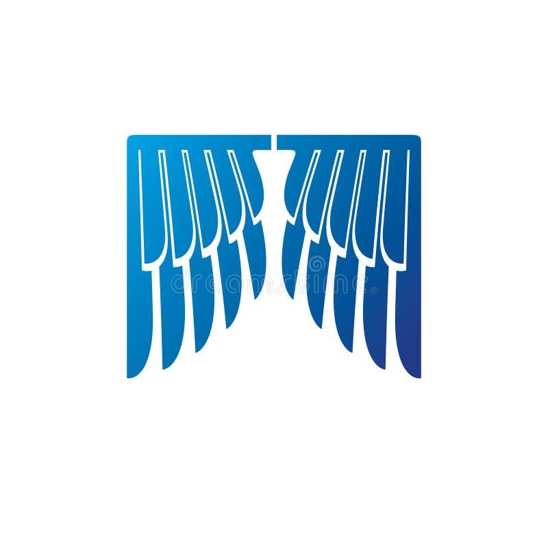 Символ голубых крыльев heraldic Heraldic вектор герба декоративным изолированный логотипом иллюстрация штока