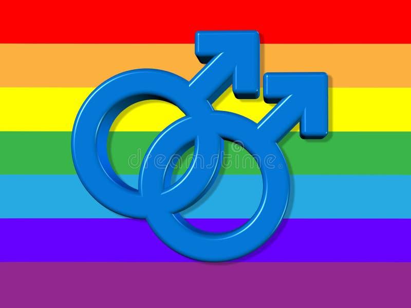 Символ гомосексуалиста в цветах радуги, 2 мужских символа пересек представлять гомосексуальное отношение на белой предпосылке, 3D иллюстрация штока