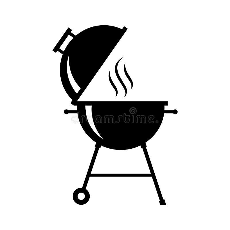 Символ горячего гриля графический черный иллюстрация вектора
