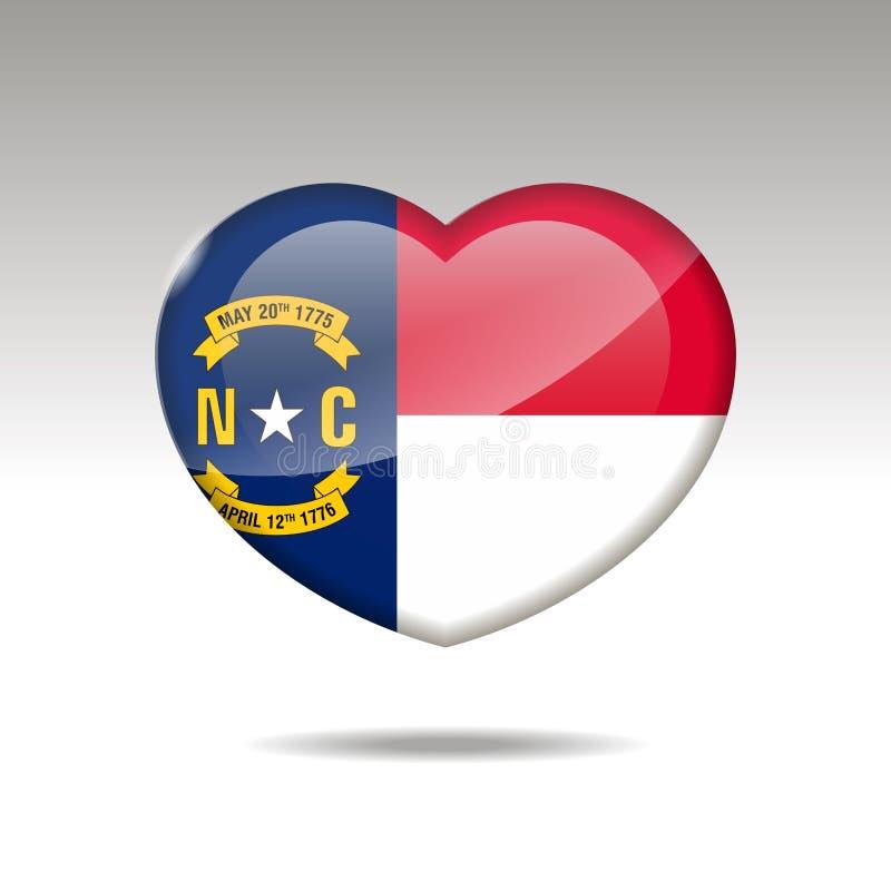 Символ государства Северной Каролины любов Значок флага сердца 10 eps иллюстрация вектора