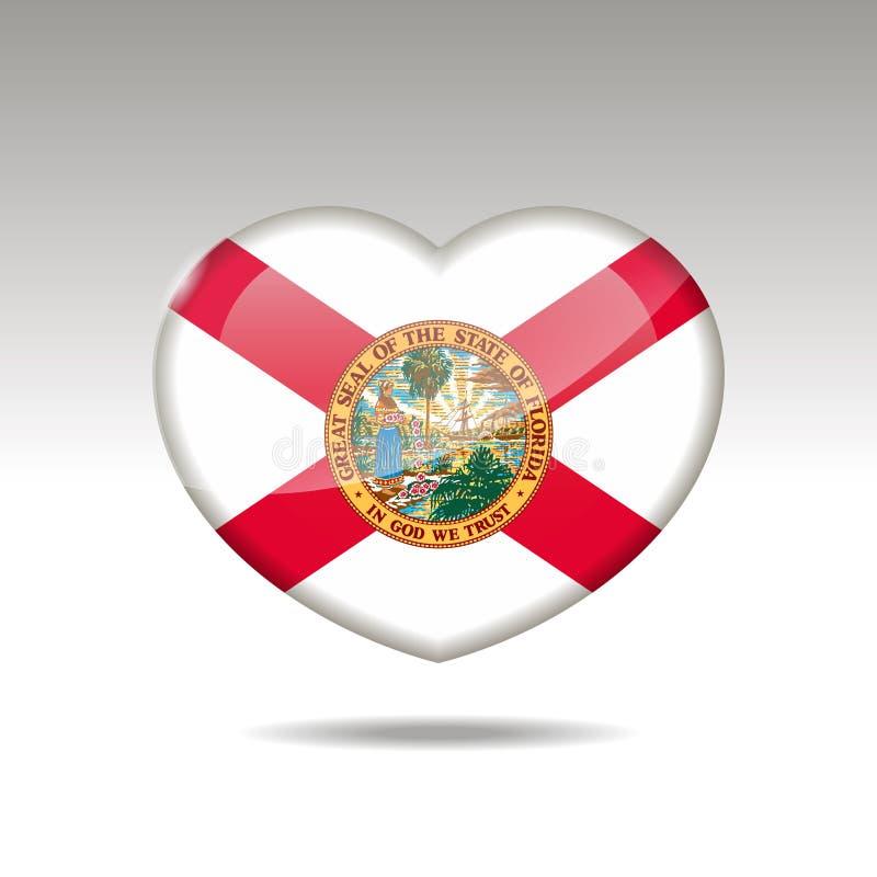 Символ государства Флориды любов Значок флага сердца 10 eps иллюстрация вектора