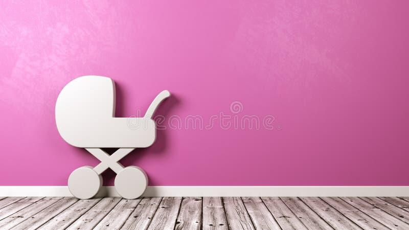 Символ детской сидячей коляски в комнате иллюстрация вектора