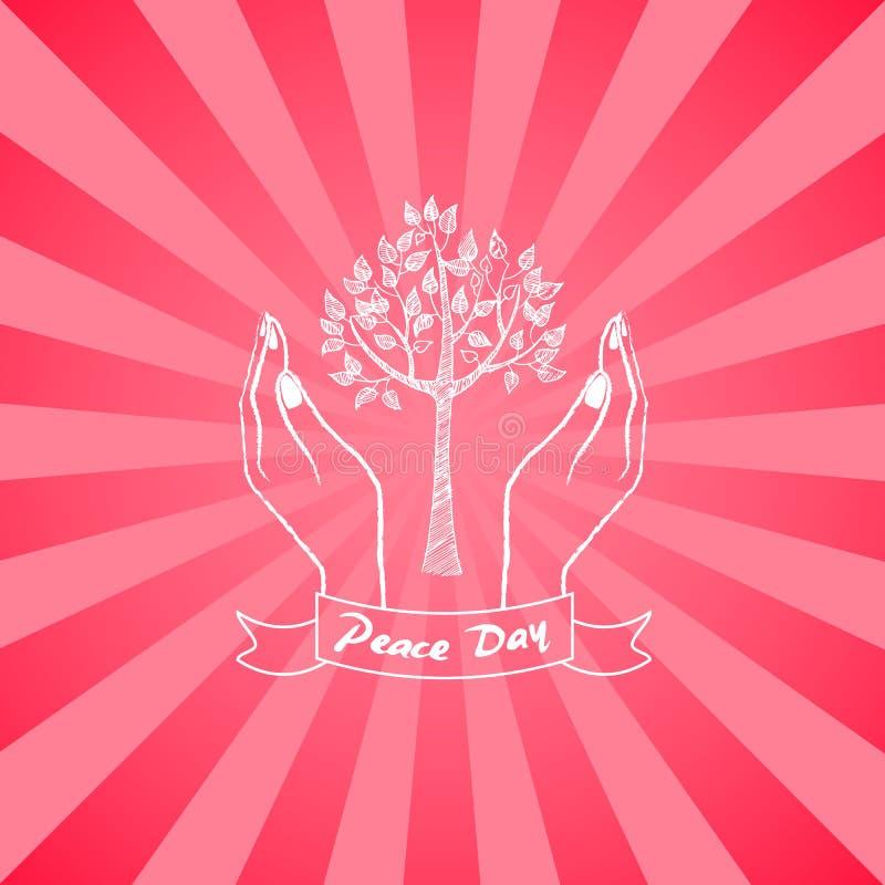 Символ дня мира при руки заботясь о дереве иллюстрация вектора