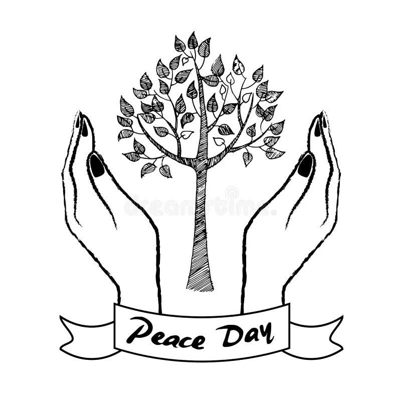 Символ дня мира при руки заботясь о дереве бесплатная иллюстрация