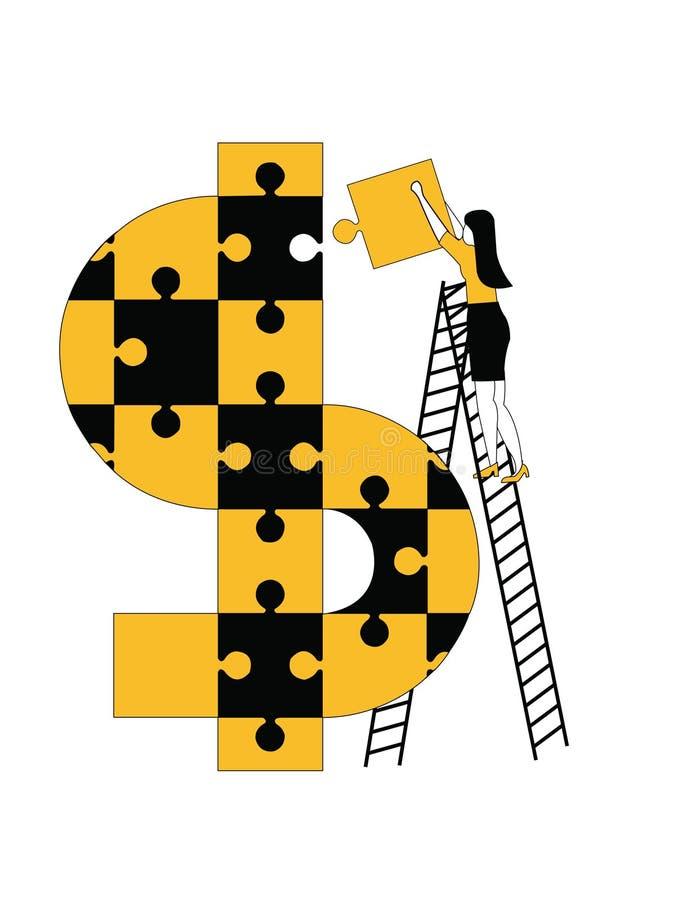 Символ доллара женщины собирая с головоломками иллюстрация штока
