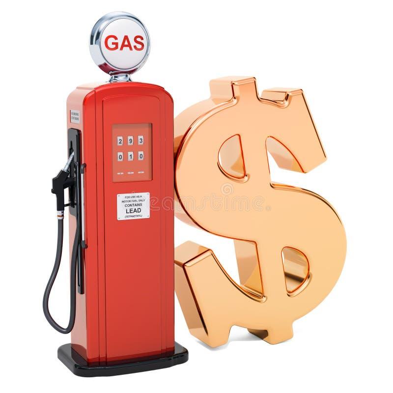 Символ доллара с газовым насосом, переводом 3D бесплатная иллюстрация