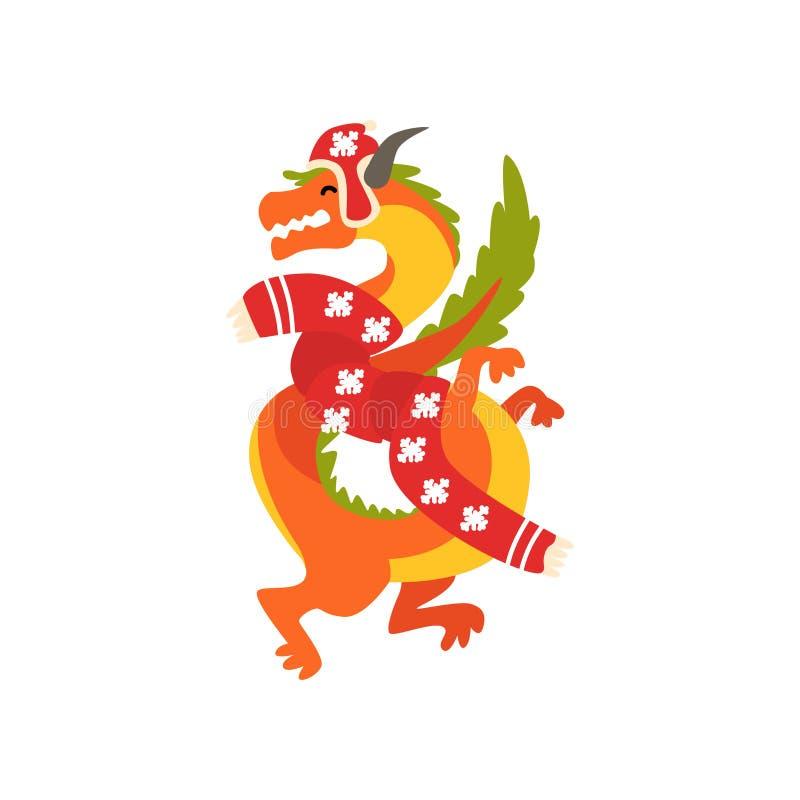 Символ дракона Нового Года, милого животного китайского гороскопа в иллюстрации вектора костюма Санта Клауса на белизне иллюстрация вектора
