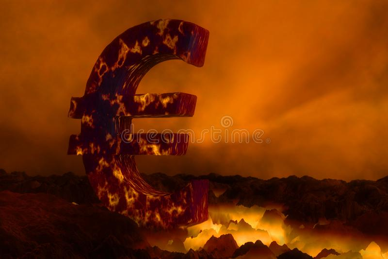 символ евро 3D горя на поверхности лавы иллюстрация штока