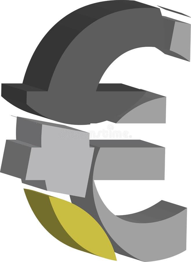 символ евро 3d иллюстрация вектора
