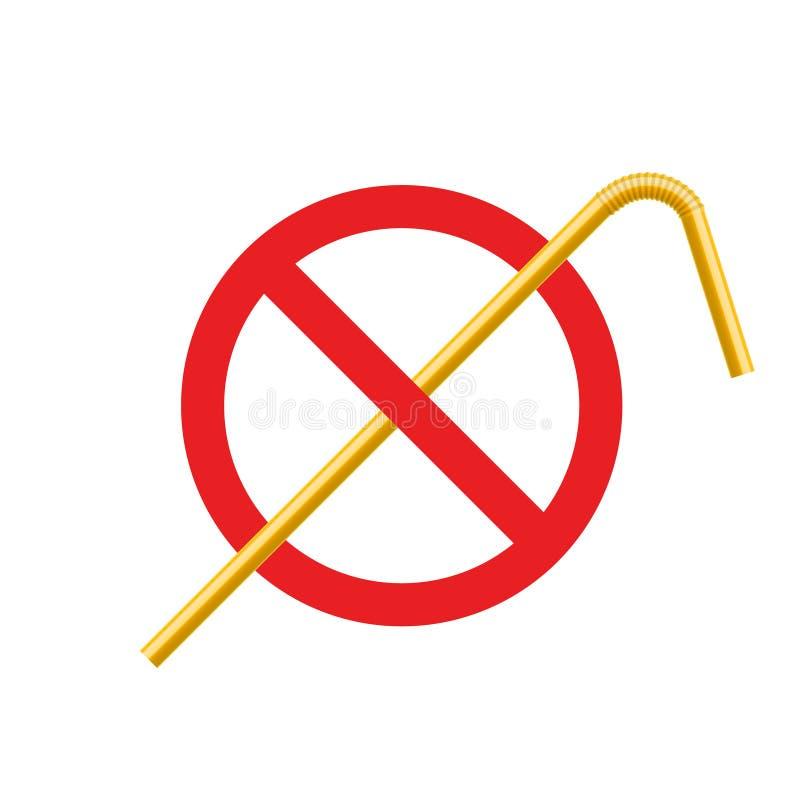 Символ запрета трубки соломы стопа пластиковый Запрещенная солома напитка загрязнения океана пластиковая Eco бамбуковое, сталь по иллюстрация вектора