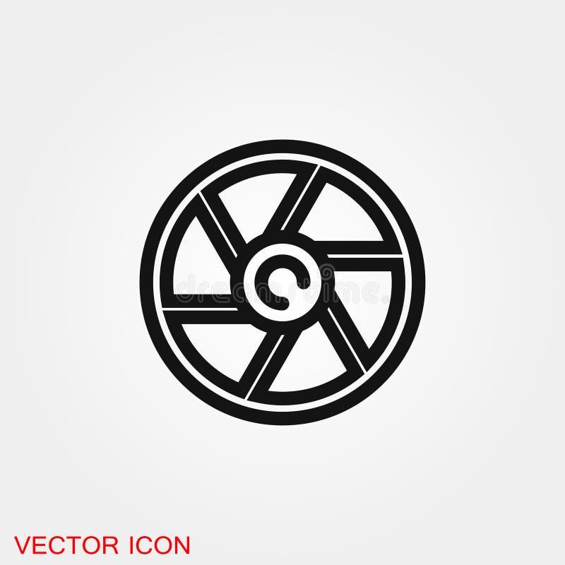 Символ знака вектора значка камеры объективный для дизайна иллюстрация вектора
