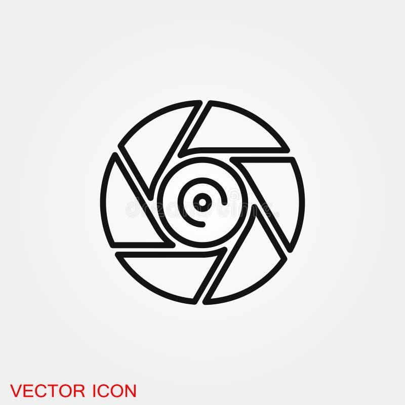 Символ знака вектора значка камеры объективный для дизайна иллюстрация штока