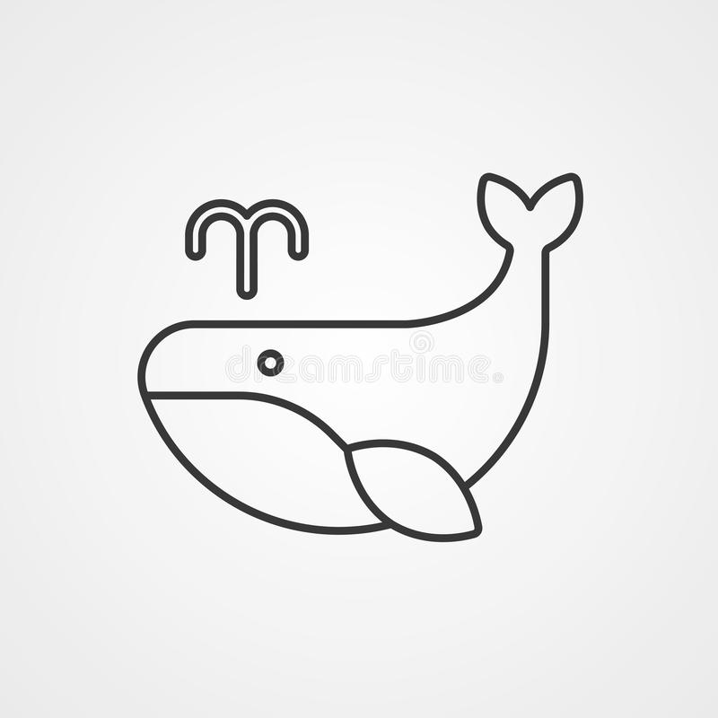 Символ знака значка вектора кита иллюстрация вектора