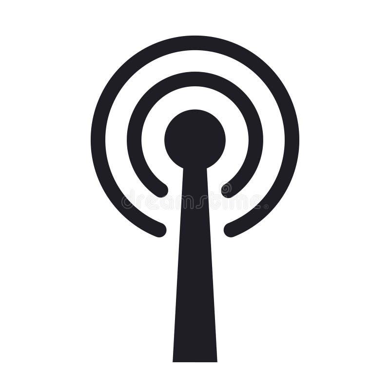 Символ значка вектора радиоволн антенны радиальный иллюстрация вектора