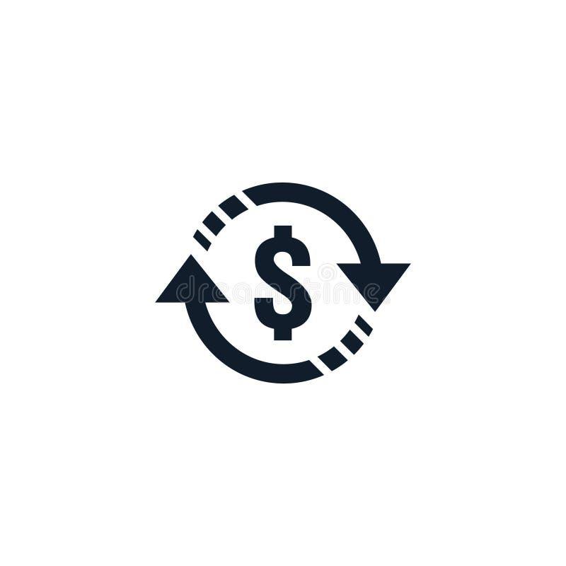 символ значка денежного перевода валютная биржа, обслуживание финансовых инвестиций, возмещение наличных денег заднее, посылает и иллюстрация вектора