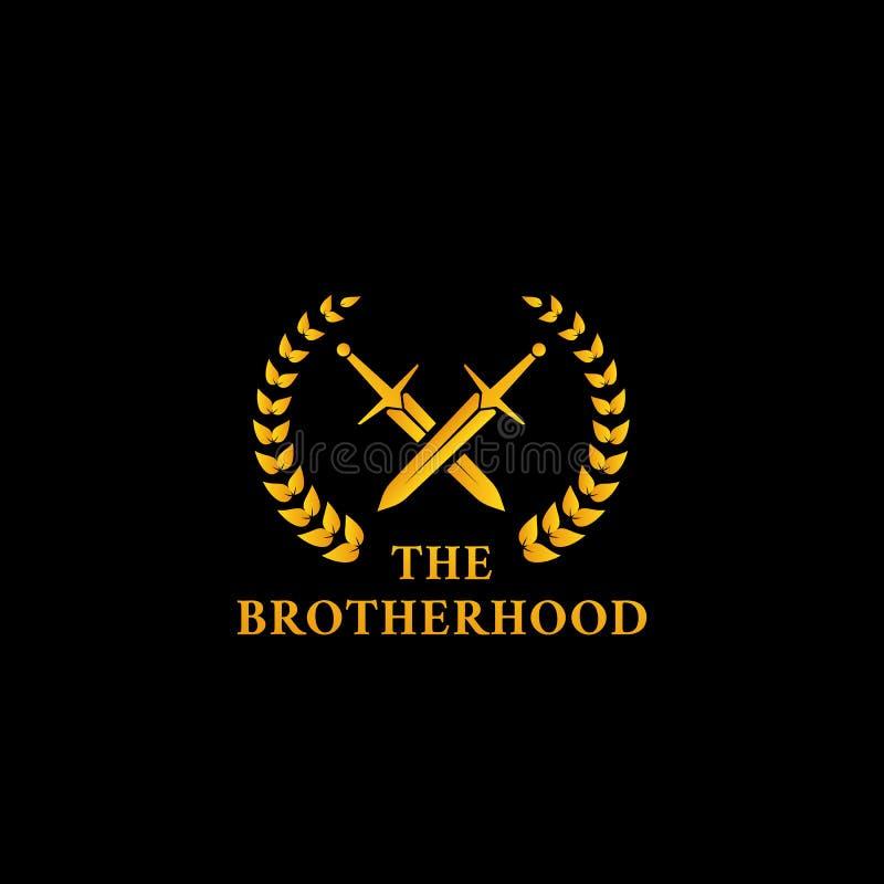 Символ значка логотипа братства бойца шпаги рыцаря воина с пересеченными шпагой и лавровым венком в иллюстрации цвета золота иллюстрация штока