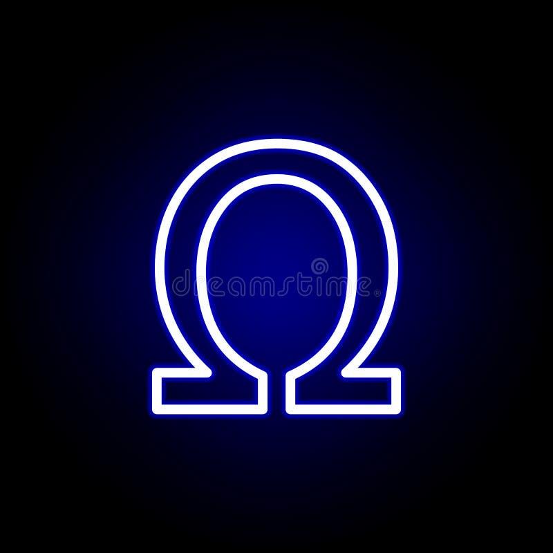 Символ, значок знака ома в неоновом стиле Смогите быть использовано для сети, логотипа, мобильного приложения, UI, UX иллюстрация вектора