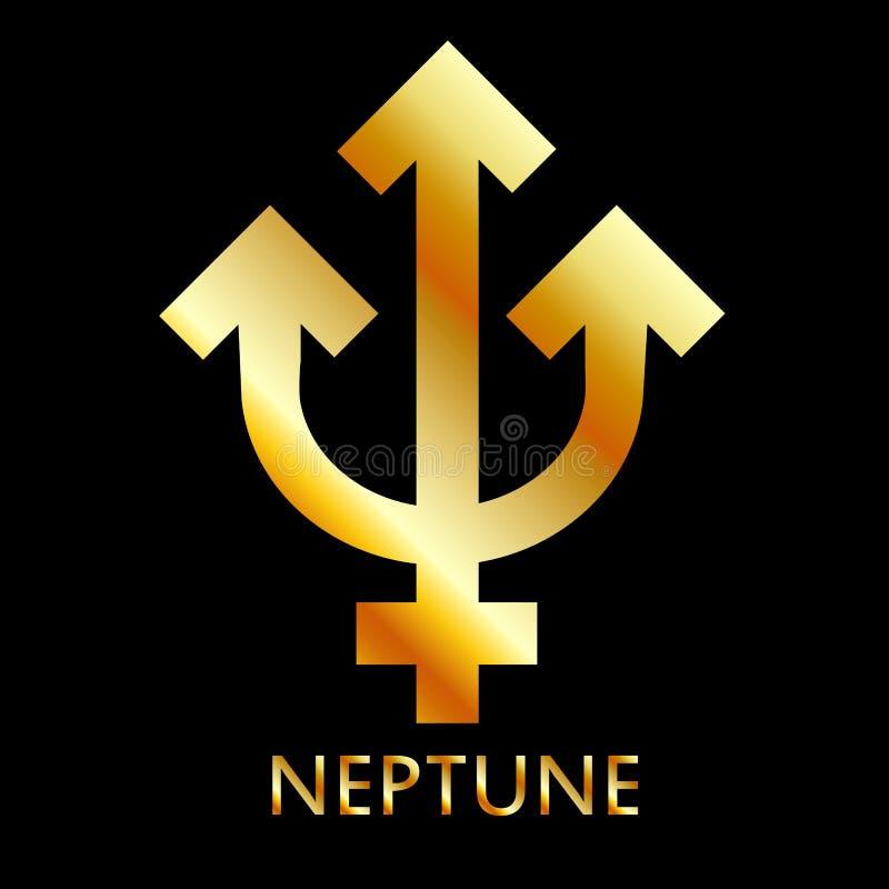 Символ зодиака и астрологии планеты Нептуна в цветах золота иллюстрация штока