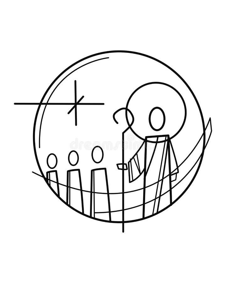 Символ Иисуса Христоса и учеников иллюстрация вектора