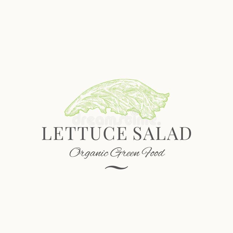 Символ или шаблон логотипа Lettuce Salad Abstract Vector Sign, Symbol или Logo Премиумная овощная или зеленая пищевая эмблема Сал иллюстрация вектора