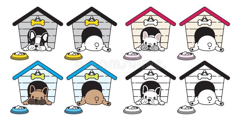 Символ иллюстрации персонажа из мультфильма логотипа значка косточки еды шара дома французского бульдога вектора собаки иллюстрация штока