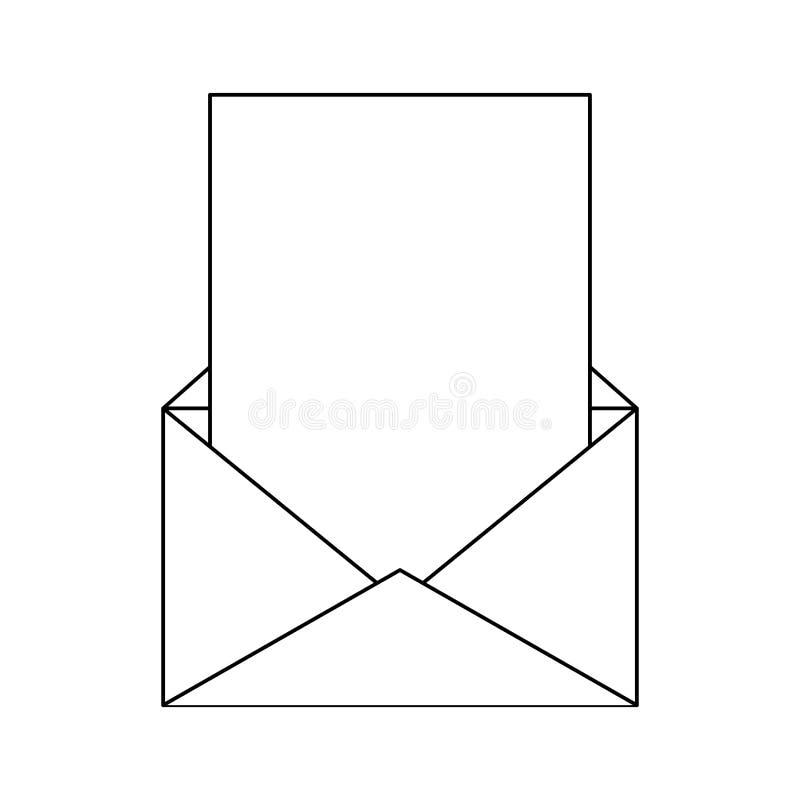 Символ конверта электронной почты в черно-белом иллюстрация штока