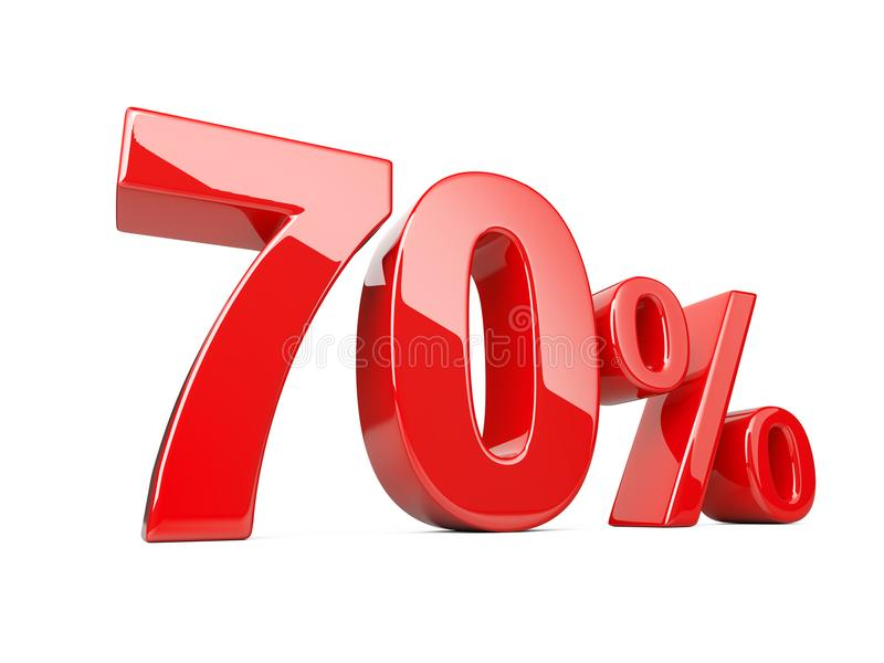 Символ 70 красный процентов процентная ставка 70% Специальное предложение d иллюстрация вектора