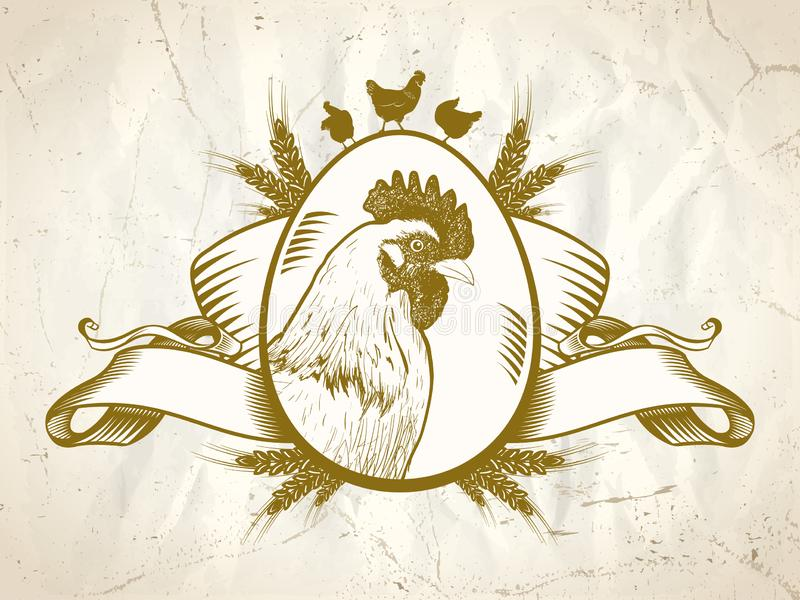 Символ курицы или петуха, логотип цыпленка старого стиля иллюстрация вектора