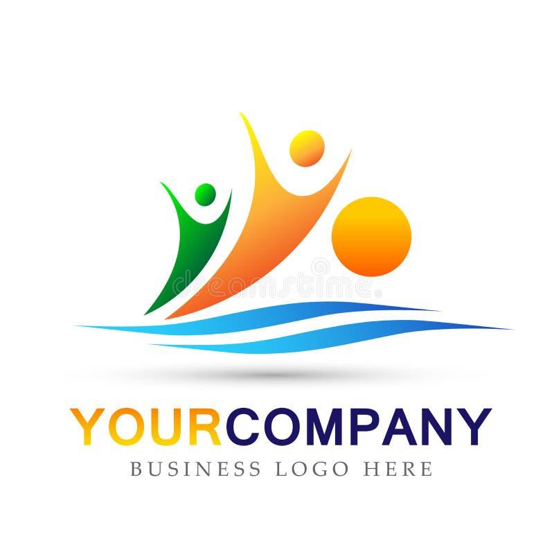 Символ лета успеха работы команды соединения людей значка логотипа моря солнца людей выигрывая на белой предпосылке иллюстрация штока