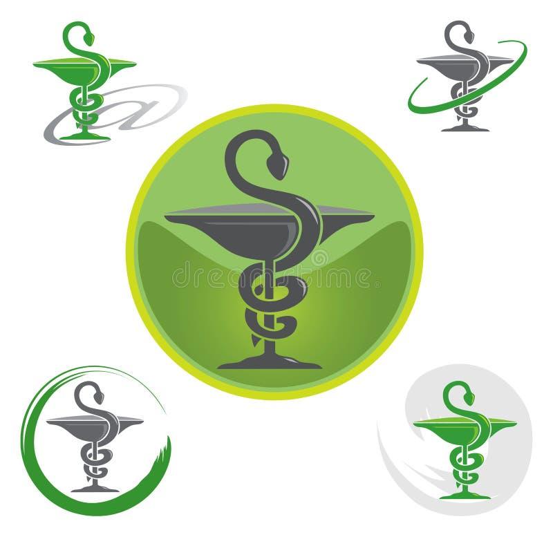 символ логосов caduceus установленный иллюстрация штока