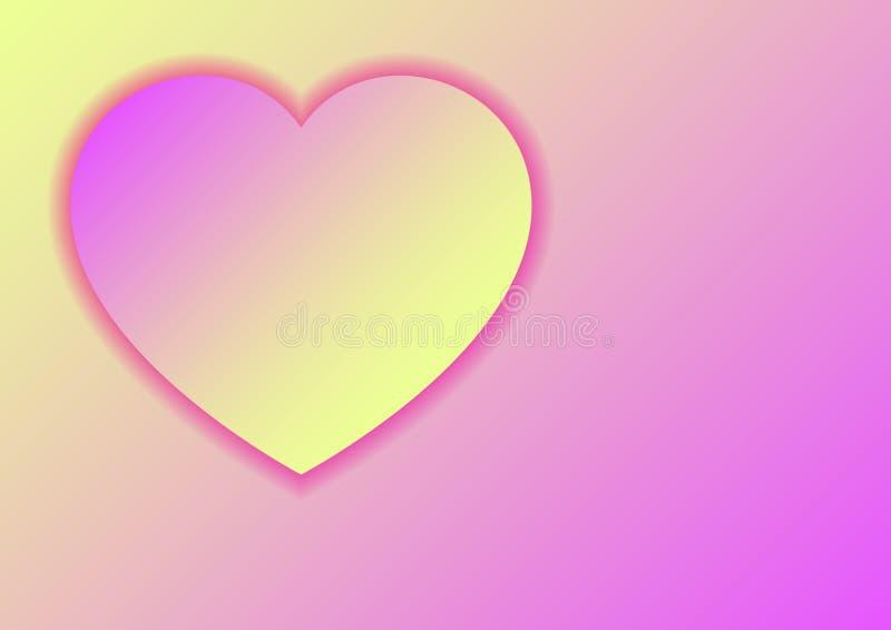 Символ любов сердца на день Валентайн от бумажного отрезанного пастельного цвета фиолетовых и желтых градиентов с тенями для знам иллюстрация вектора