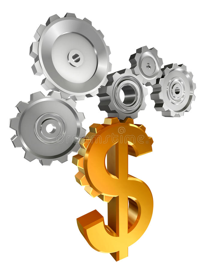 символ металла доллара cogs золотистый иллюстрация штока