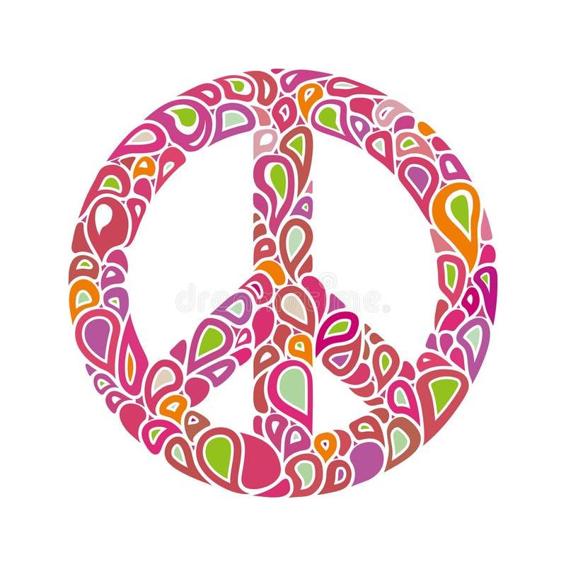 Символ мира Знак мира состоит из ярких пестротканых падений пузырей иллюстрация вектора