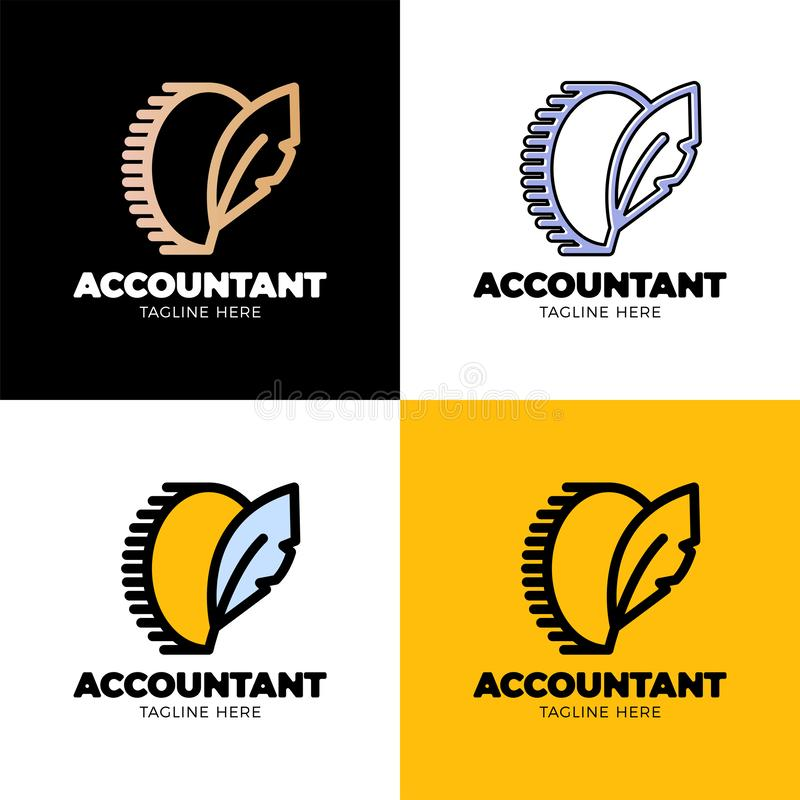 Символ монетки с пером спеть Логотип писателя блога денег или работник бухгалтера бесплатная иллюстрация