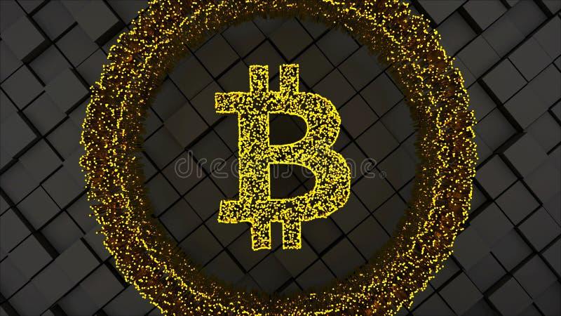 Символ монетки Bitcoin с много частицами и приданной квадратную форму поверхности, компьютером произвел предпосылку абстрактной т иллюстрация штока